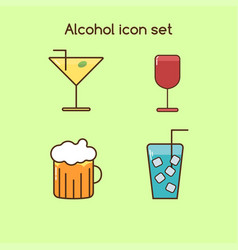alcohol drinks icon set vintage set vector image vector image