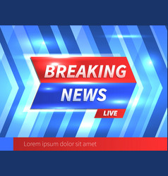 breaking news banner with striped blue background vector image vector image