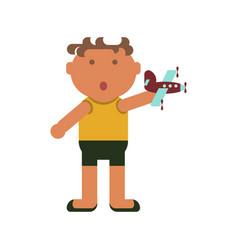little boy plays vector image vector image