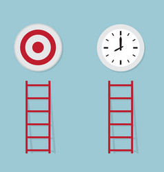 red ladder to target and time business concept vector image vector image