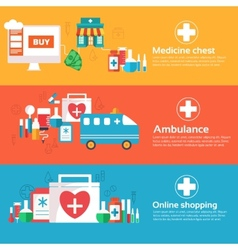set of banners flat medical icons vector image