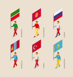 3d people with flags of asian countries vector