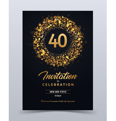 40 years anniversary invitation card template vector