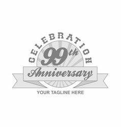 99 th anniversary grey shine background vector
