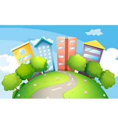A narrow road going to the tall buildings vector