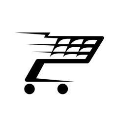 Abstract a shopping cart moving vector
