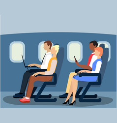 Airline passengers on the plane flat vector