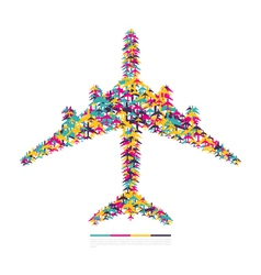 Airplane consisting of airplanes vector