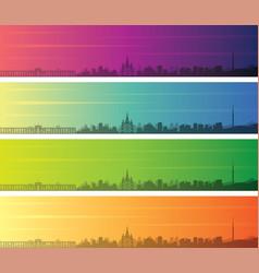 Almaty multiple color gradient skyline banner vector