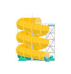 aqua park yellow plastic water tube icon vector image