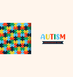 Autism awareness day papercut puzzle banner vector