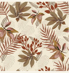autumn color foliage seamless pattern white vector image