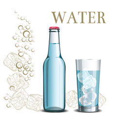 Bottle of water and a glass on the background vector