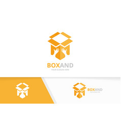 box and hands logo combination package and vector image