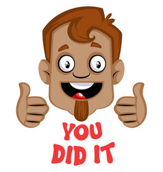 brown human emoji with a you do it symbol and vector image