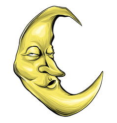 cartoon crescent moon with face vector image