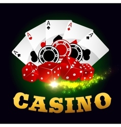 Casino poker game cards chips playing dices vector image