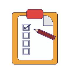 checklist clipboard and pencil symbol blue lines vector image