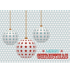 Christmas baubles with stars on white 3d vector image