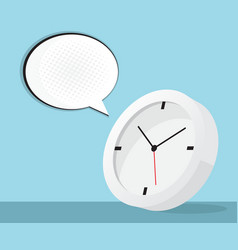 Clock icon with speech bubble and halftone vector