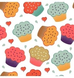 Colorful seamless pattern with cupcakes and hearts vector image
