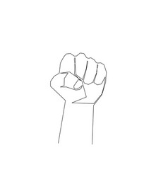 continuous one line fist sign protest vector image