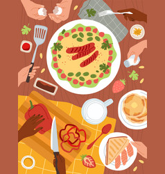 cooking food dishes preparations restaurant vector image