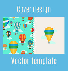 Cover with hot air balloons pattern vector