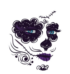 Day of Dead Girl Face7 vector image