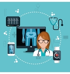 Doctor digital healthcare icons design vector