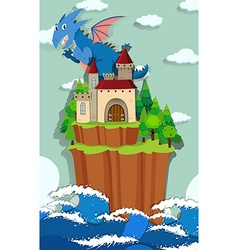 Dragon and castle on the island vector image