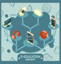e-education color isometric concept icons vector image