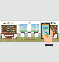 Ebook online modern library interior with vector
