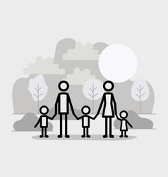 family members linear figures in the landscape vector image
