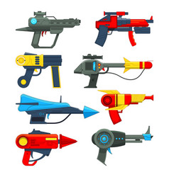 Fantastic space weapons in cartoon style vector