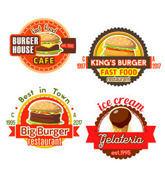 Fast food burgers ice cream icons vector