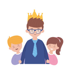 Father son and daughter with crown on fathers day vector