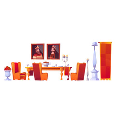 Feast table with food in castle dining room set vector
