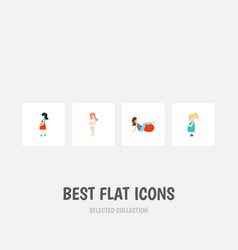 flat icon pregnant set of mother pregnancy sport vector image
