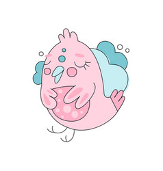 flat line art with cute pink bird against blue vector image