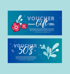 floral gift voucher vector image