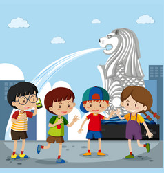 Four kids at the merlion in singapore vector
