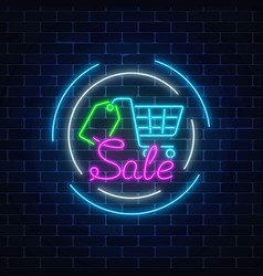 Glowing neon sale sign with supermarket shopping vector