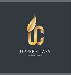 Gold on dark upper class logo vector