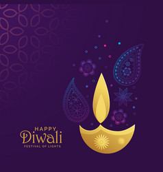 golden diwali diya with paisley decoration vector image