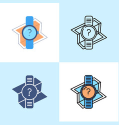 Gps watch icon set in flat and line style vector
