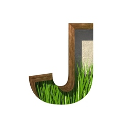 Grass cutted figure j Paste to any background vector