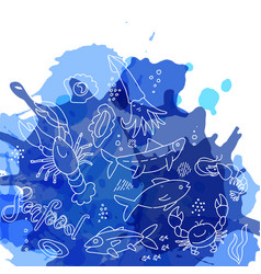 hand drawn seafood pattern with blue watercolor vector image