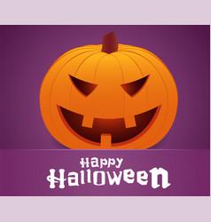 happy halloween smiling pumpkin face on purple vector image