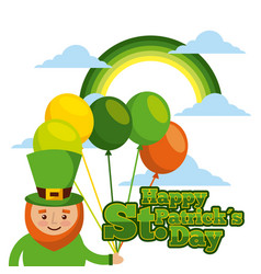 happy st patricks day card leprechaun with vector image